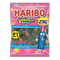 Haribo £1 PM Bubblegum Fizzy Bottles 160g 12 pack Food