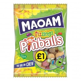 Maoam £1 PM Fizzings Pinballs 180g 12 pack Food