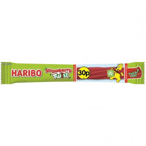 Haribo 30p PM Strawberry Twist Bar 25g Food