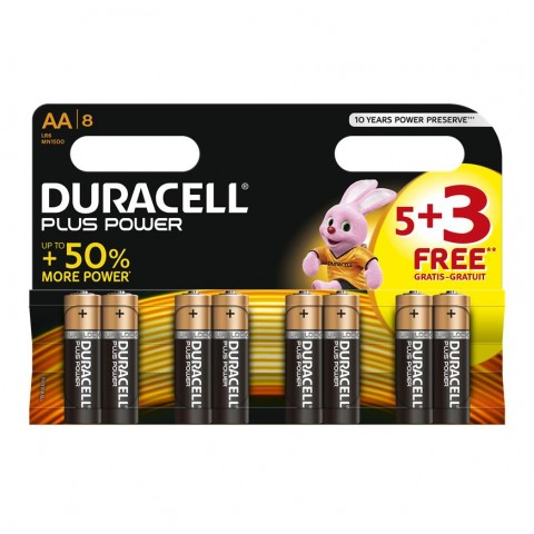 Duracell AA Plus Power 5 + 3 FREE Pack Display of 24 Hardware