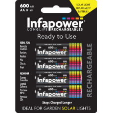 Infapower AA Rechargeable Batteries 600mAh Solar Hardware