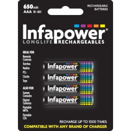Infapower AAA Rechargeable Batteries 650mAh Hardware