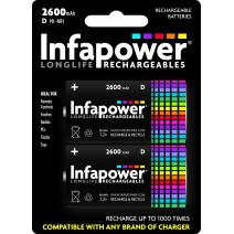 Infapower D Rechargeable Batteries 2600mAh