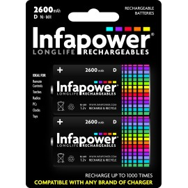 Infapower D Rechargeable Batteries 2600mAh Hardware