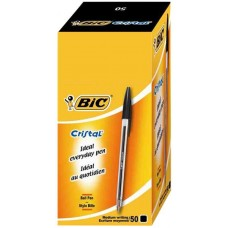 Bic Black Cristal Pen 50 Pack Hardware