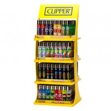 Clipper 4 Tier Flint Refillable Lighters Stand + 20 Lighters FREE Smokers