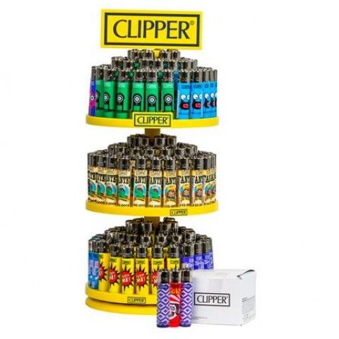 Clipper 3 Tier Flint Refillable Lighters Carousel Stand Smokers