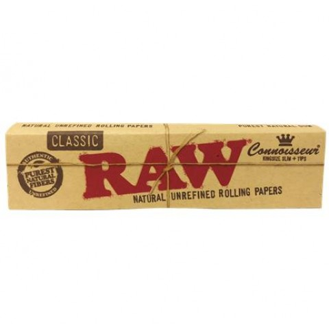 Raw Classic Connoisseur King Size Slim Papers + Tips Smokers