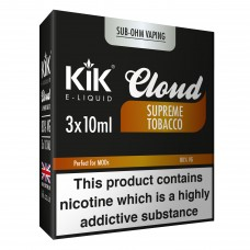 Kik Cloud Vape Supreme Tobacco Sub Ohm E-Liquid 3 x 10ml Liquids