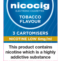Nicocig Tobacco Cartomiser Refills Low